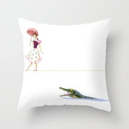 Haunted Tightrope Girl And Gator Throw Pillow