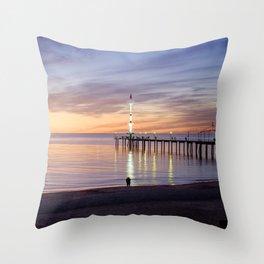 Brighton Beach Sunset Throw Pillow