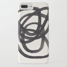 Mid Century Modern Minimalist Abstract Art Brush Strokes Black & White Ink Art Spiral Circles iPhone Case
