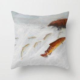 La remontée du saumon Throw Pillow