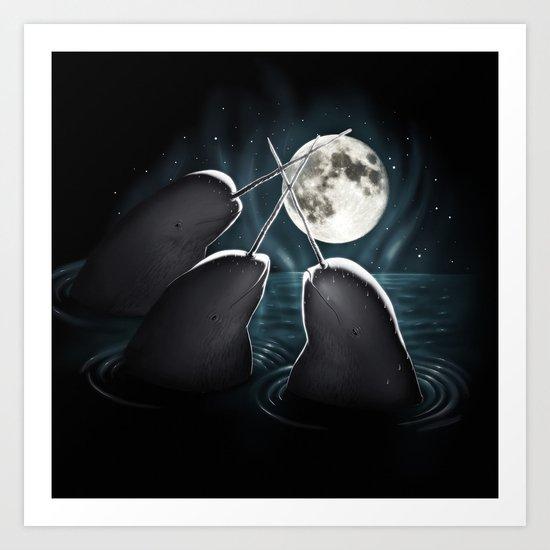 3 Narwhal Moon Art Print
