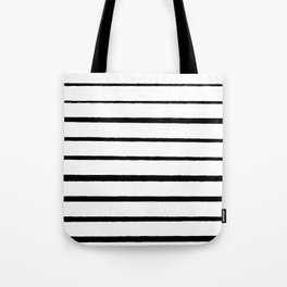 Black and White Rough Organic Stripes Tote Bag