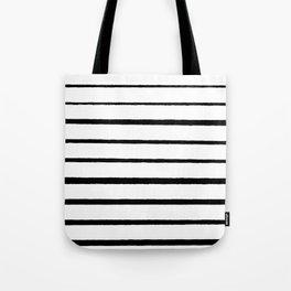 Black and White Rough Organic Stripes Tote Bag