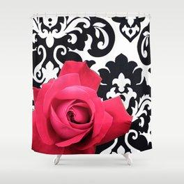 Pink Rose Black & White Large Damask Shower Curtain