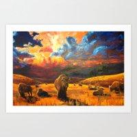 buffalo Art Prints featuring Buffalo by Daniel Gonzalez