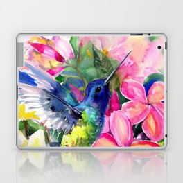 Hummingbird and Plumeria Florwers Tropical bright colored foliage floral Hawaiian Flowers Laptop & iPad Skin