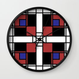 Neoplasticism symmetrical pattern in Well Read (red) Wall Clock