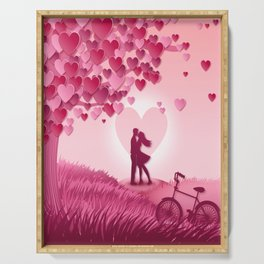Kissing couple in meadow Serving Tray