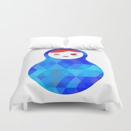 wink Russian doll matryoshka with bright rhombus on white background, blue colors Duvet Cover