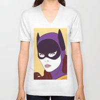 60s V-neck T-shirts featuring 60s Batgirl by Patrick Scullin