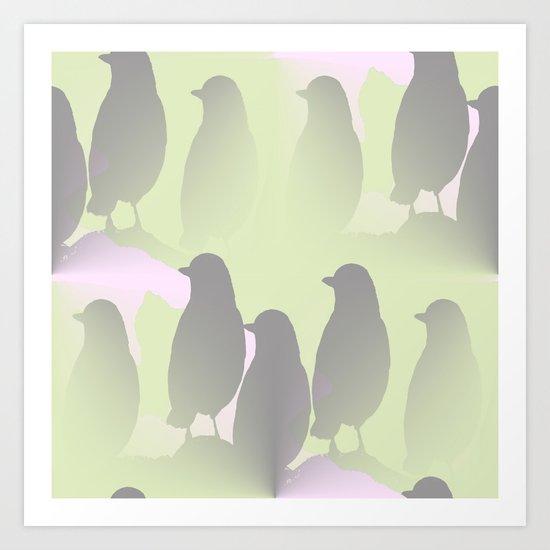 Spring mood - singing birds on a green pink background Art Print