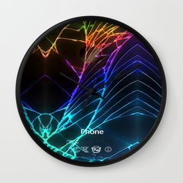 Rainbow Broken Damaged Cracked out Black handphone iPhone Wall Clock