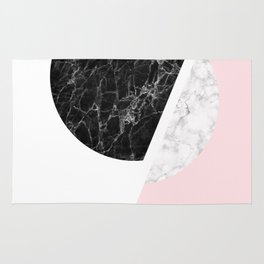 Black And Pink Modern Scandinavian Minimalist Art Rug