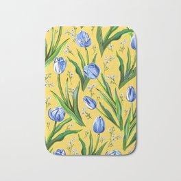 Blue Tulips + Babys Breath | Yellow Bath Mat