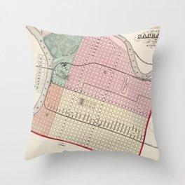 Vintage Map of Sacramento CA (1873) Throw Pillow