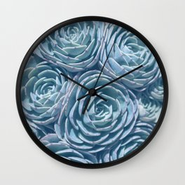 Blue and Green Succulent Wall Clock