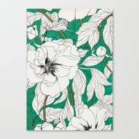 peonies Canvas Prints featuring green peonies by Marcella Wylie