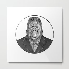 Gorilla Wearing Tuxedo Drawing Metal Print