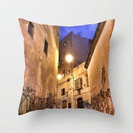 Narrow road at night with graffiti Throw Pillow