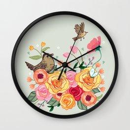 Jenny Wren in a Rose Garden Wall Clock