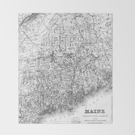 Vintage Map of Maine (1894) BW Throw Blanket
