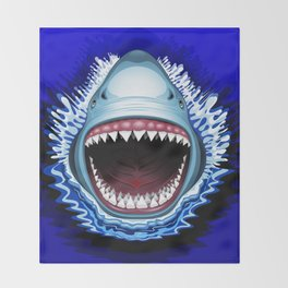 Shark Jaws Attack Throw Blanket