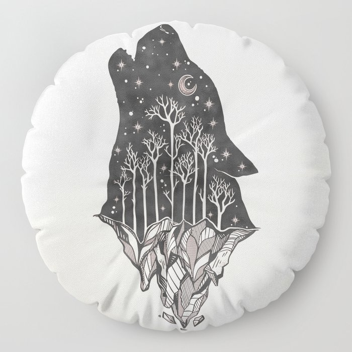 Adventure Wolf - Nature Mountains Wolves Howling Design Black on Pale Pink Floor Pillow