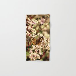 Buckeye Butterfly On Pale Pink Flowers Hand & Bath Towel