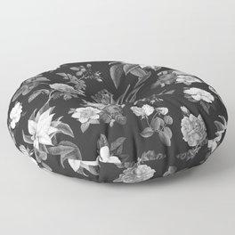 Vintage flowers on black Floor Pillow