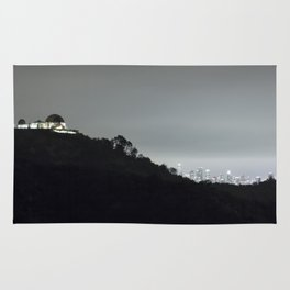 Griffith Park Observatory and Los Angeles Skyline at Night Rug