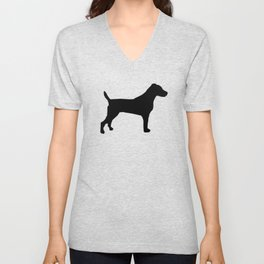 Jack Russell Terrier black and white minimal dog pattern dog silhouette Unisex V-Neck