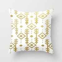 nordic Throw Pillows featuring GOLD NORDIC by Nika