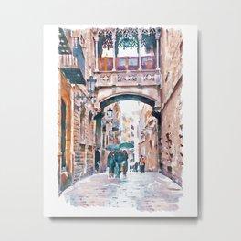 Carrer del Bisbe - Barcelona Metal Print