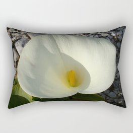 Overhead View of A White Calla Lily Against Pebbles Rectangular Pillow