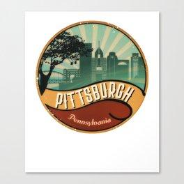 Pittsburgh City Skyline Pennsylvania Retro Vintage Design Canvas Print