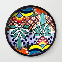 Colorful Talavera, Yellow Accent, Large, Mexican Tile Design Wall Clock