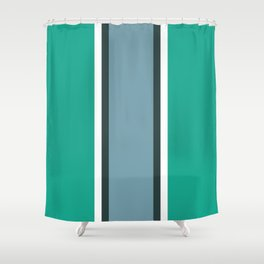 Green and blue striped art Shower Curtain