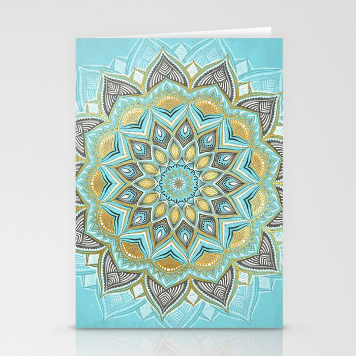 Cyan & Golden Yellow Sunny Skies Medallion Stationery Cards