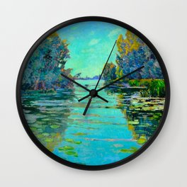 Václav Radimský (1867-1946) Waterlilies in evening light Modern Impressionist Oil Painting Colorful Wall Clock