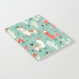 Llamas and cactus in a pot on green Notebook