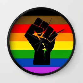 LGBT Pride Flag More Colors Raised Fist (More Pride) Wall Clock