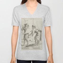 Vintage Print - Giuseppe Mitelli - A Lazy Man Turns to Beggins (1683) Unisex V-Neck