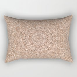 The Most Detailed Intricate Mandala (Brown Tan) Maze Zentangle Hand Drawn Popular Trending Rectangular Pillow