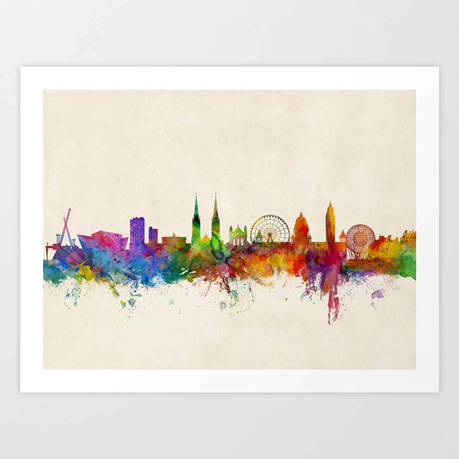 Belfast northern ireland skyline art print by artpause society6