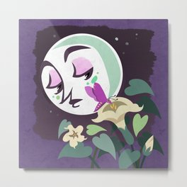 The Moth and Moon Metal Print