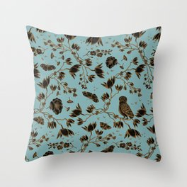 Orchid Owl Verdigris Throw Pillow