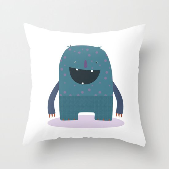 BLUE MONSTER Throw Pillow