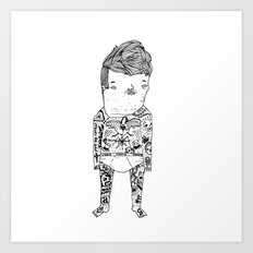 Jacky with tattoo. Art Print