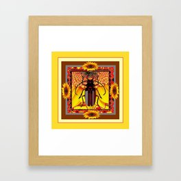 BEETLE & YELLOW SUNFLOWERS YELLOW DESIGN Framed Art Print