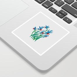 Hand painted watercolor floral blue and red flowers Sticker